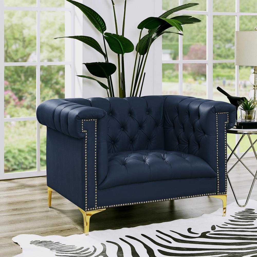 Ramona PU Leather Club Arm Chair Navy/Gold Button Tufted Nailhead Trim Metal Y-Leg