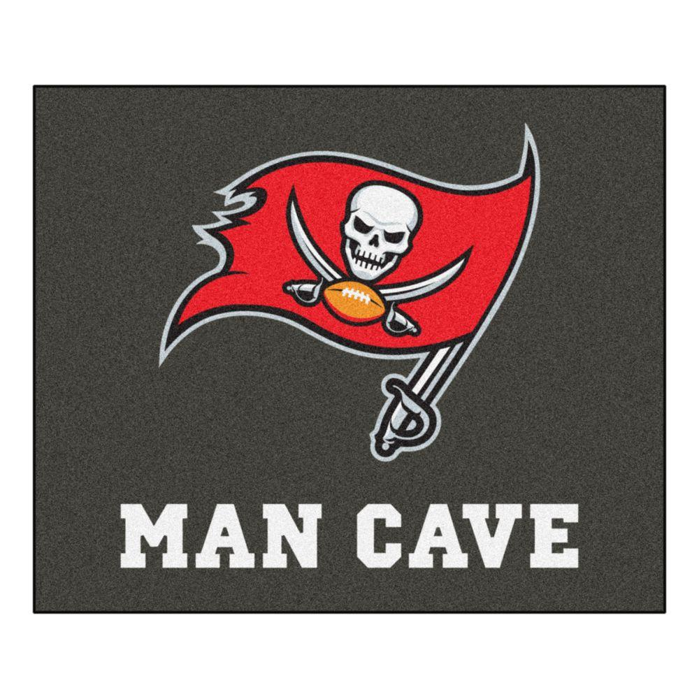 Fanmats Tampa Bay Buccaneers Black Man Cave 5 Ft X 6 Ft
