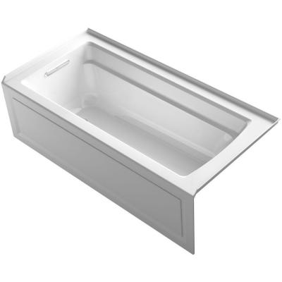 Archer 66 in. Left-Hand Drain Rectangular Alcove Bathtub in White