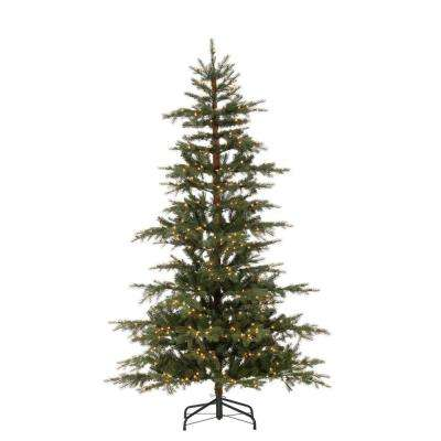 7.5 ft. Pre-Lit Natural Cut Layered Timberland Pine Artificial Christmas Tree with 600 Clear Lights