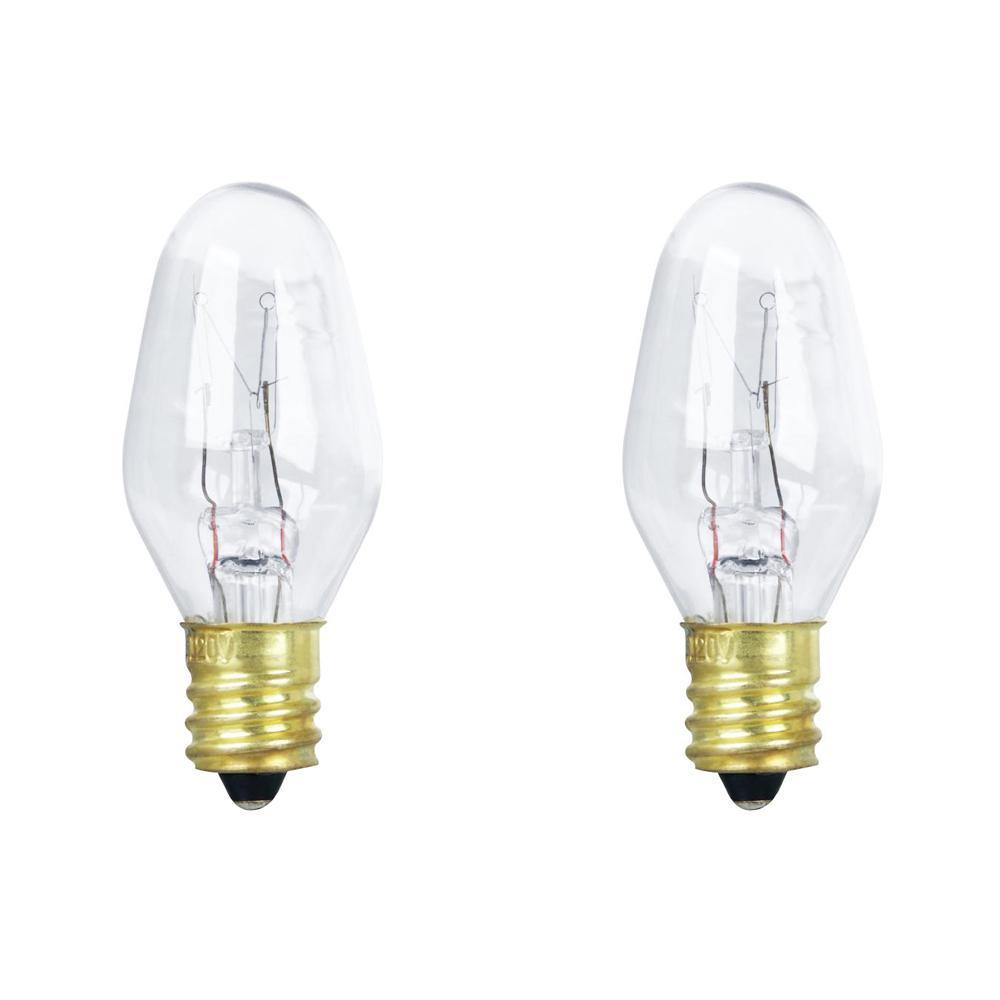 15 Watt Soft White 2700k C7 Candelabra E12 Base Dimmable Incandescent Liance Light Bulb 2 Pack
