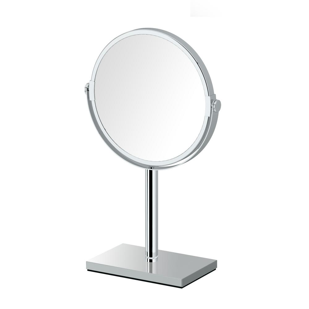 Modern Rectangle Base 12.5 in. Countertop 3x Magnification Makeup Mirror in