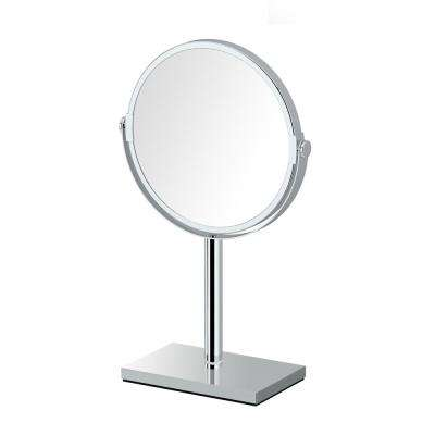 Modern Rectangle Base 12.5 in. Countertop 3x Magnification Makeup Mirror in Chrome