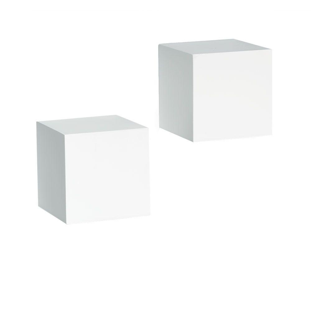 Knape & Vogt 5 in. x 5 in. Floating White Wall Cube Decorative Shelf Kit (2-Piece)