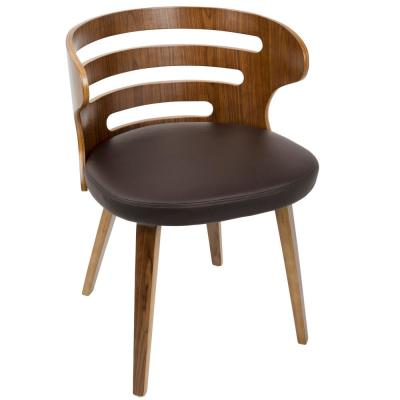 Cosi Brown Faux Leather Dining/Accent Chair with Walnut