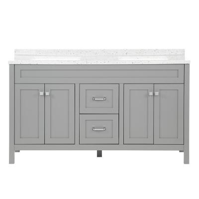 Maywell 60.5 in. W Bath Vanity in Sterling Gray with Solid Surface Vanity Top in Silver Ash with White Basin