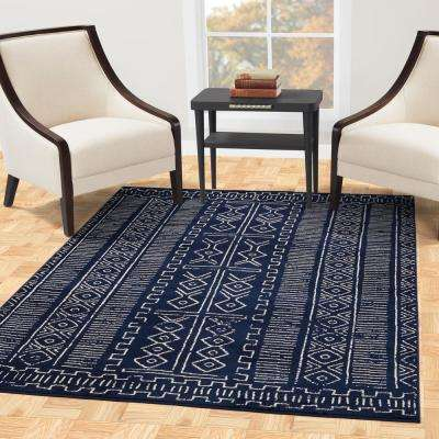 Jasmin Collection Moroccan Trellis Design Navy and Ivory 8 ft. x 8 ft. Area Rug
