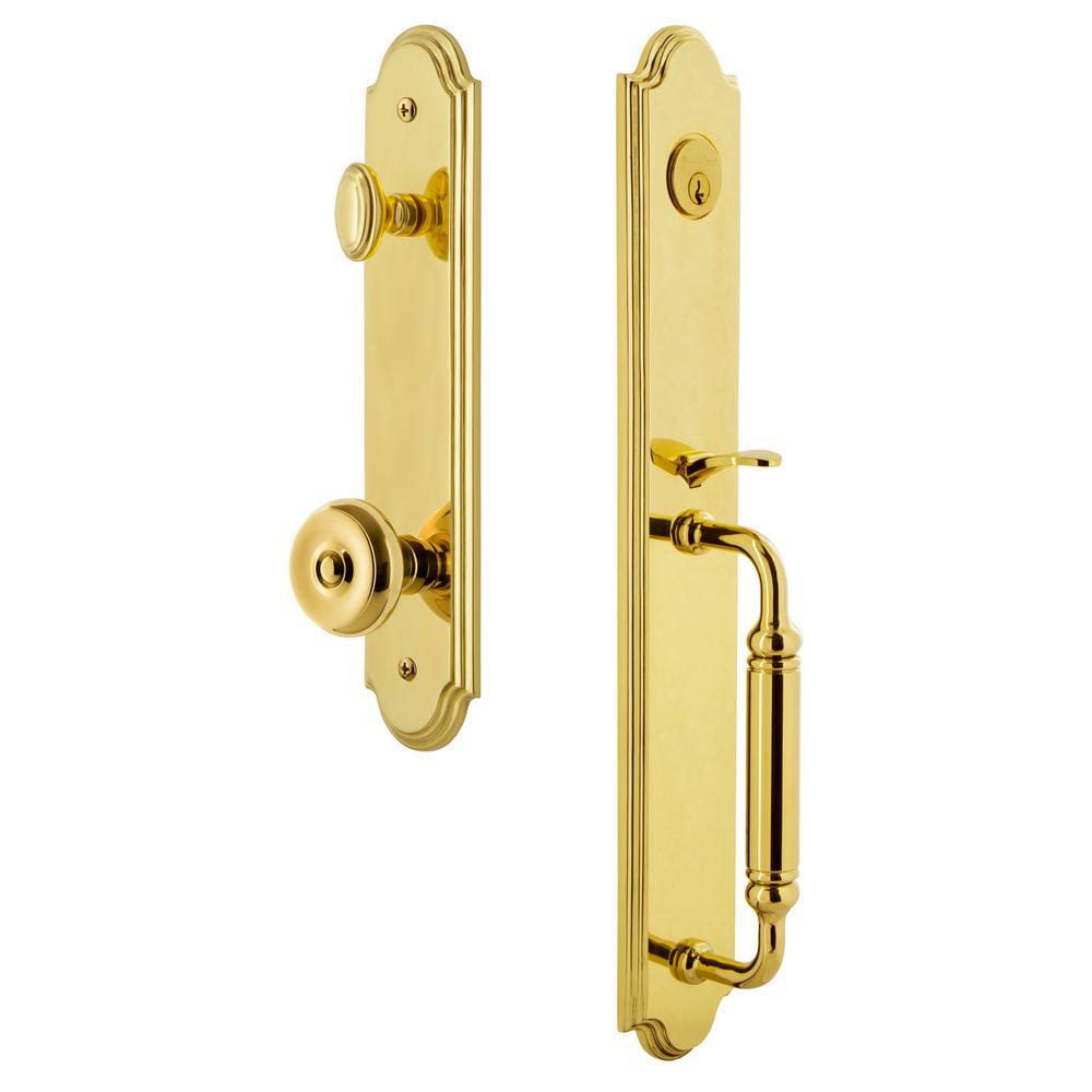 Arc 1-Piece Lifetime Brass Door Handleset with C Grip and Bouton Knob