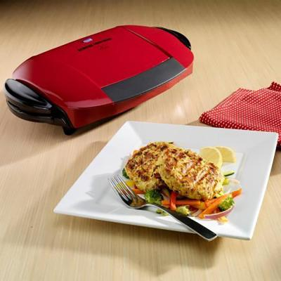 George Foreman-103 sq. in. Red Indoor Grill with Removable Plates