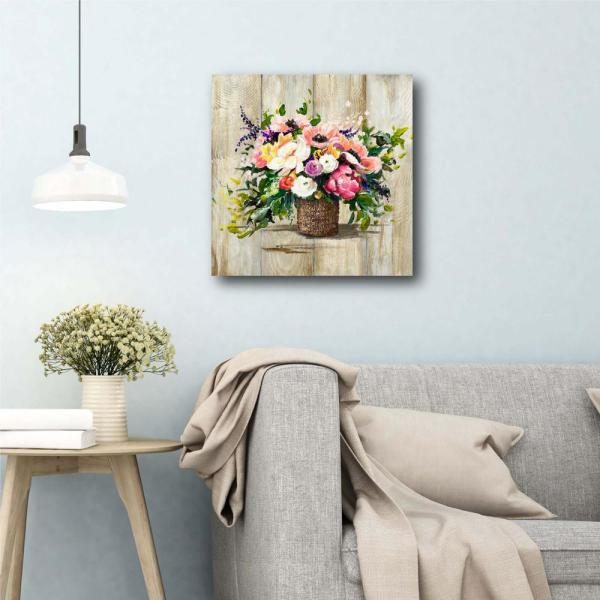 Courtside Market Basket With Flowers 16 In X 16 In Gallery Wrapped Canvas Wall Art Web Sc768 16x16 The Home Depot