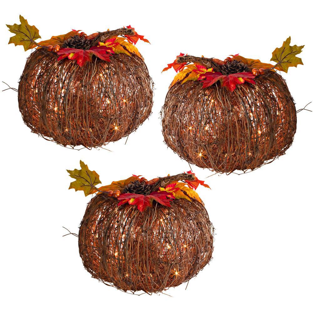 10 in. Harvest Twig Pumpkins (Set of 3)