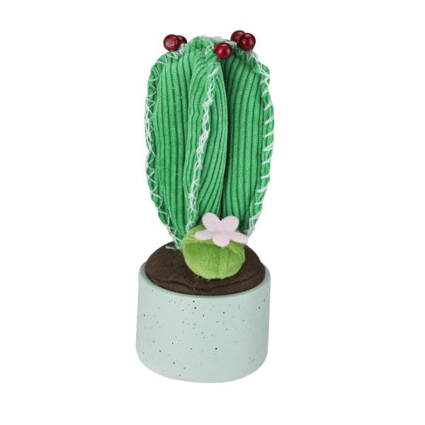 7 in. Artificial Plush Cactus in Gray Pot Table Top Decoration