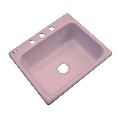 Inverness Drop-In Acrylic 25 in. 3-Hole Single Bowl Kitchen Sink in Wild Rose