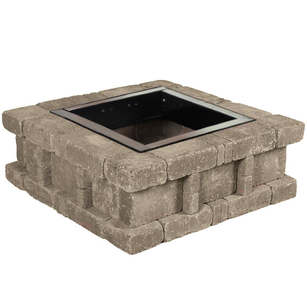 Pavestone RumbleStone 38.5 in. x 14 in. Square Concrete Fire Pit Kit No. 2 in. Greystone