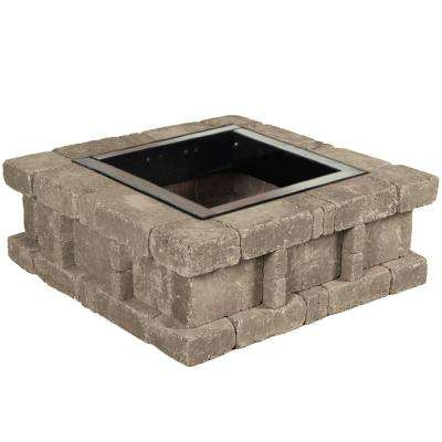 RumbleStone 38.5 in. x 14 in. Square Concrete Fire Pit Kit No. 2 in. Greystone