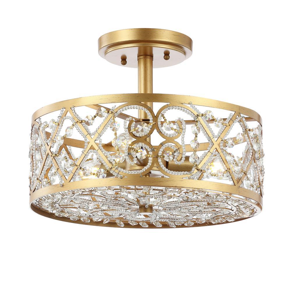 Leila 3-Light 13.25 in. Antiqued Gold Iron/Crystal Modern Glam LED Flush Mount