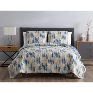 MHF Home Terri Reversible Abstract Blue Full/Queen Quilt Set,