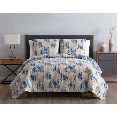 MHF Home Terri Reversible Abstract Blue King Quilt Set,
