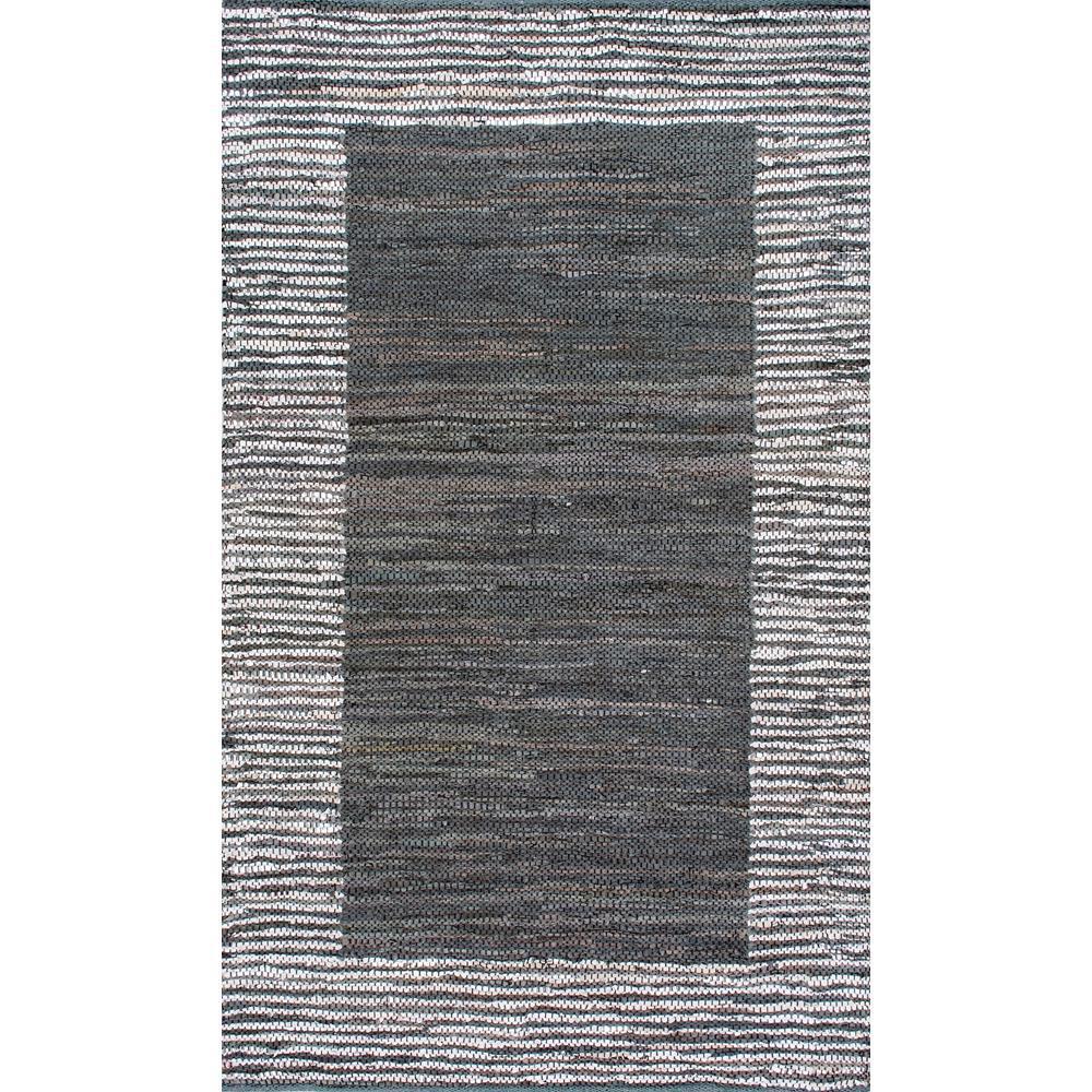 Solid Striped Border Neta Grey 5 ft. x 8 ft. Area Rug