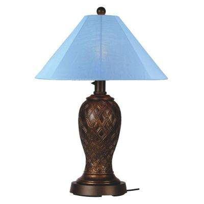 Monterey 34 in. Bronze Outdoor Table Lamp with Sky Blue Shade