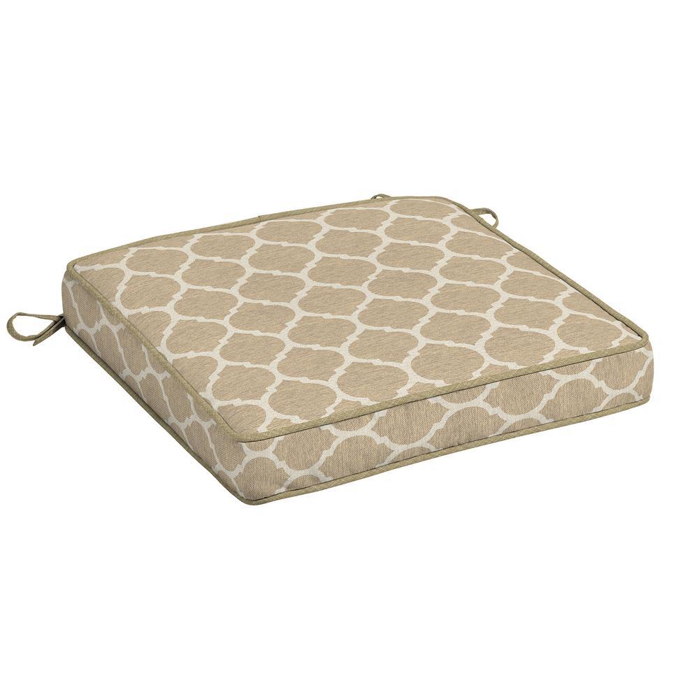 CushionGuard Toffee Trellis Square Outdoor Seat Cushion