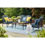 Laurel Oaks 4-Piece Brown Steel Outdoor Patio Conversation Seating Set with Sunbrella Denim Blue Cushions