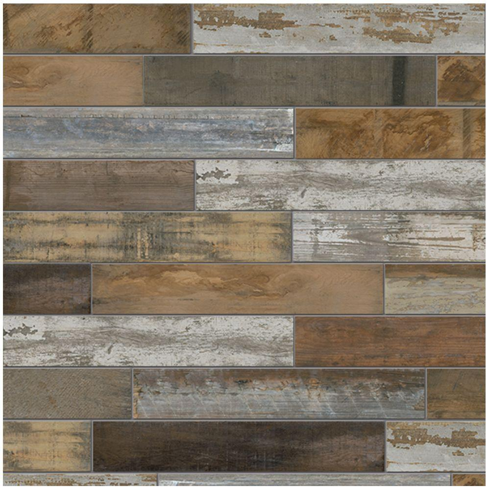 Gray tile flooring the home depot montagna wood vintage chic 6 in x 24 in porcelain floor and wall tile doublecrazyfo Choice Image