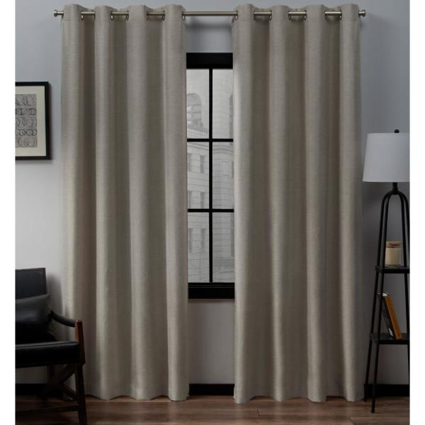 Loha 52 in. W x 96 in. L Linen Blend Grommet Top Curtain Panel in Beige (2 Panels)