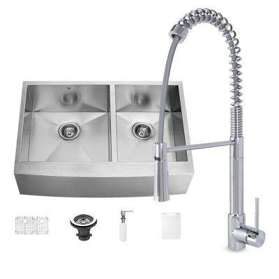 All-in-One Farmhouse Matte Stone 36 in. 0-Hole Kitchen Sink and Laurelton Stainless Steel Faucet Set