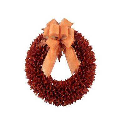 22 in. Orange Spike Wood Curl Wreath with Glitter
