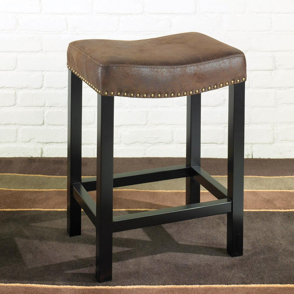 Armen Living Tudor 30 In Wrangler Brown Fabric And Black Wood With