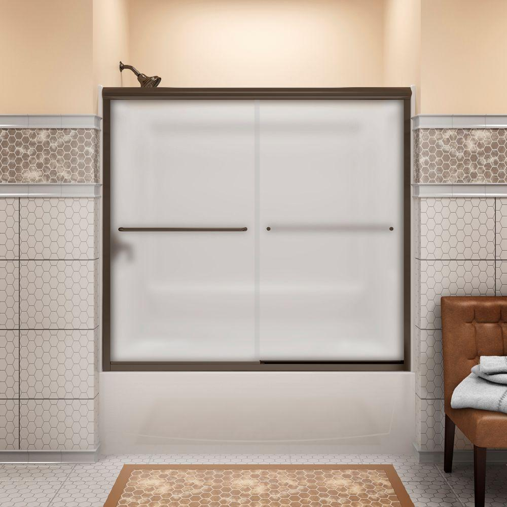 STERLING Finesse 59-5/8 in. x 58-1/16 in. Semi-Frameless Bath Sliding Door in Frosted Deep Bronze with Handle