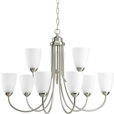 Gather Collection 9-Light Brushed Nickel Chandelier with Etched Glass Shade