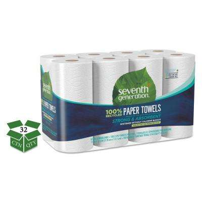 100% Recycled Paper Towel Rolls, 2-Ply, 11 x 5.4 Sheets, 156 Sheets/RL, 32RL/CT