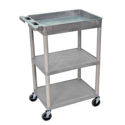 STC 24 in. W x 18 in. D 3 Top/ Bottom Tub and Flat Middle Shelf Utility Cart - Gray