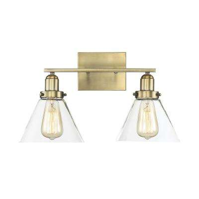 17.75 in. 2-Light Warm Brass Vanity Light with Clear Glass