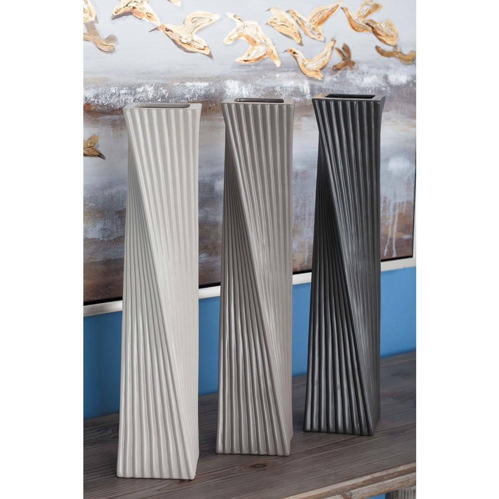 13 in. Vertically Ribbed Ceramic Decorative Vase in Black, White and Gray (Set of 3)