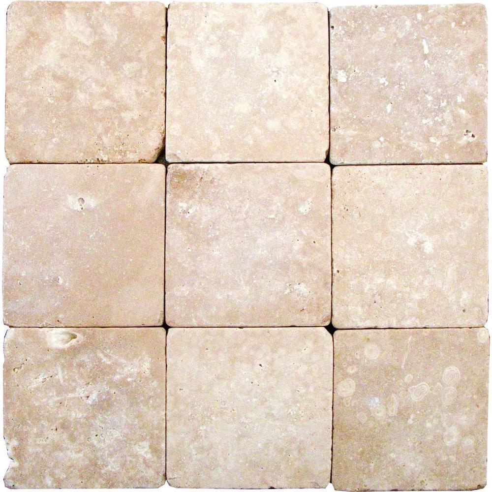Tumbled Light Beige Stone Effect Travertine Wall Floor: MSI Durango 4 In. X 4 In. Tumbled Travertine Floor And