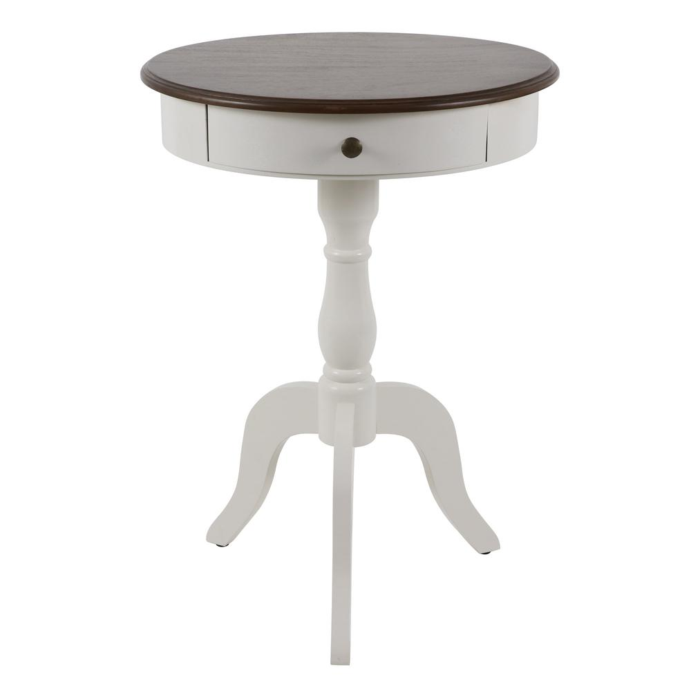 - Decor Therapy White With British Brown Top Pedestal Accent Table-FR11037 -  The Home Depot