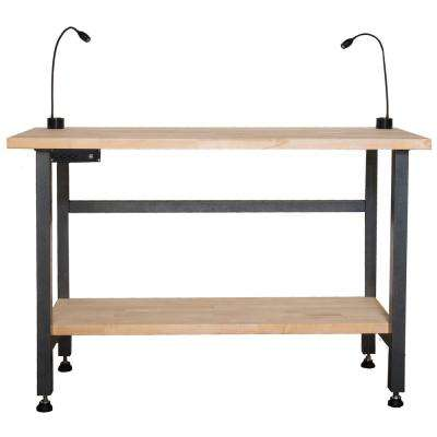 Power Driven 60 in. x 24 in. Workbench Butcher Block Top with USB ports and power outlets and LED lights