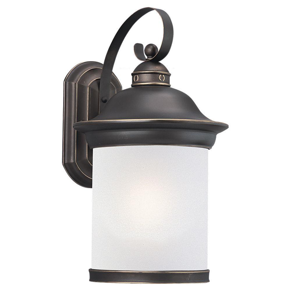 Sea Gull Lighting Hermitage 1 Light Outdoor Antique Bronze Wall Mount Lantern