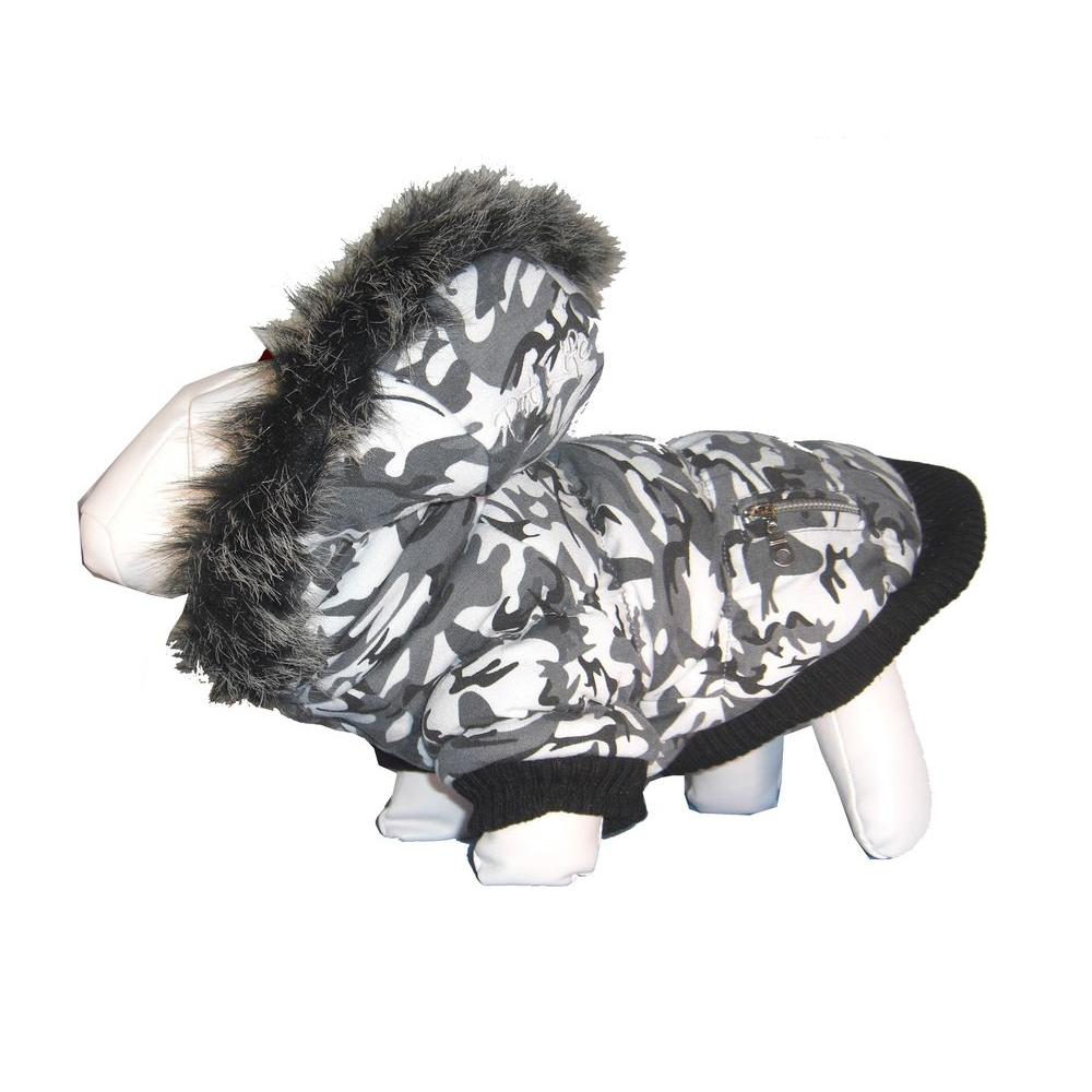PET LIFE Large Deer Pattern Fashion Parka with Removable Hood