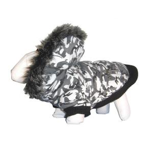 PET LIFE Large Deer Pattern Fashion Parka with Removable Hood by Parkas