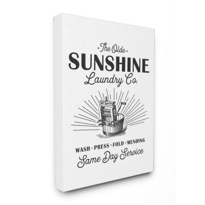"""24 in. x 30 in. """"Olde Sunshine Laundry Co Vintage Sign"""" by Lettered and Lined Printed Canvas Wall Art"""