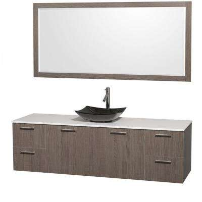 Amare 72 in. Vanity in Gray Oak with Solid-Surface Vanity Top in White, Granite Sink and 70 in. Mirror