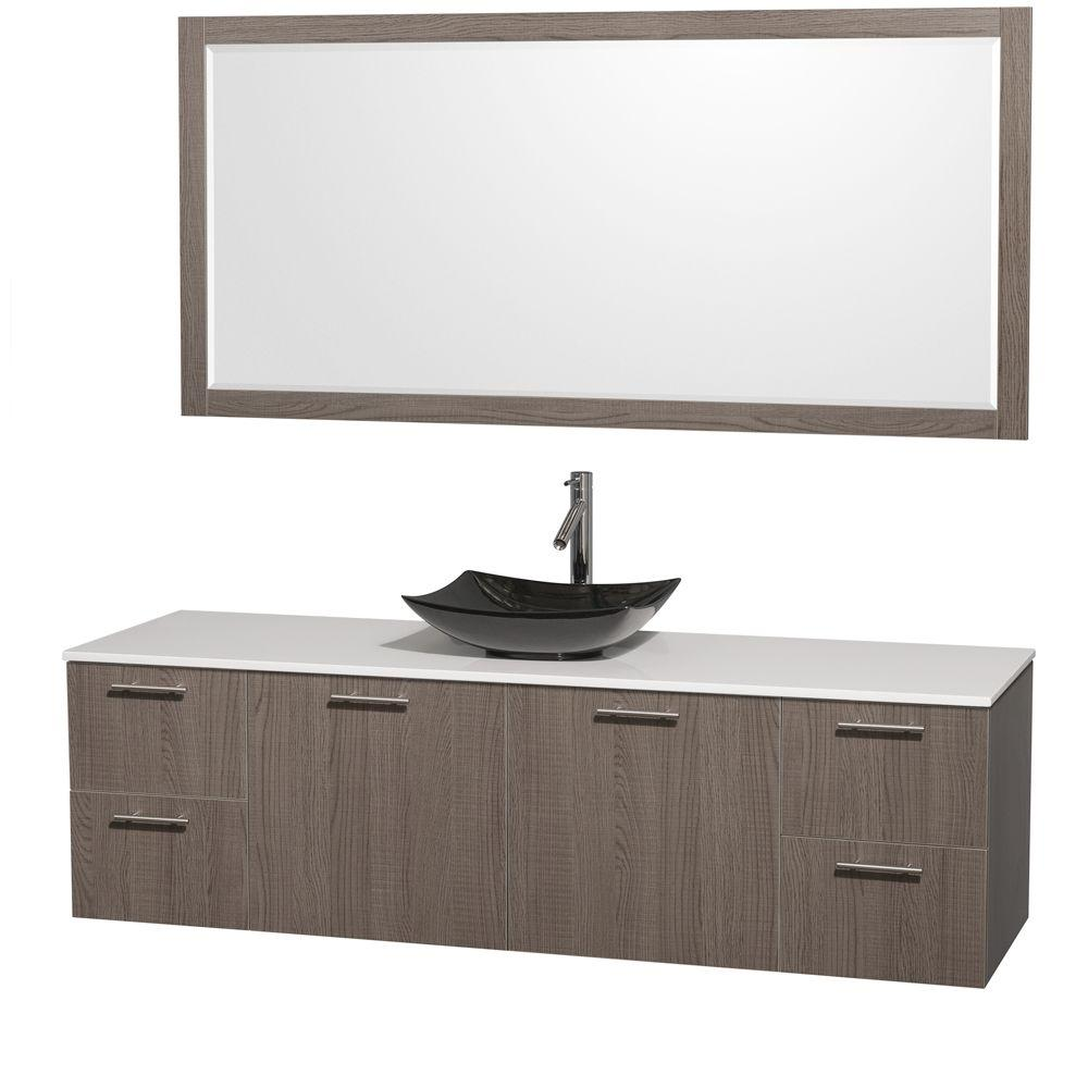 Amare 72 in. Vanity in Gray Oak with Solid-Surface Vanity Top