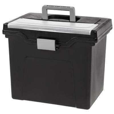 Letter Size Portable File Storage Box with Organizer Lid in Black (4 per Pack)