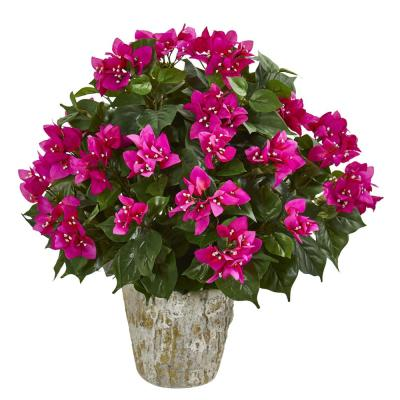 Indoor Bougainvillea Artificial Plant in Weathered Oak Planter