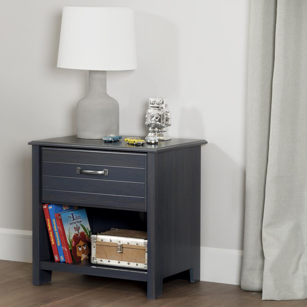 south shore ulysses 1drawer blueberry nightstand