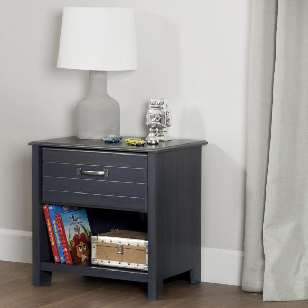 South Shore Ulysses 1-Drawer Blueberry Nightstand